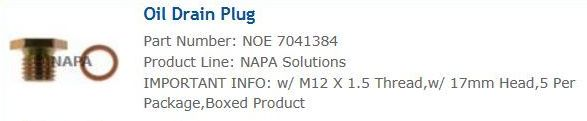 Name:  NAPA Oil Drain Plug.JPG Views: 44 Size:  18.4 KB